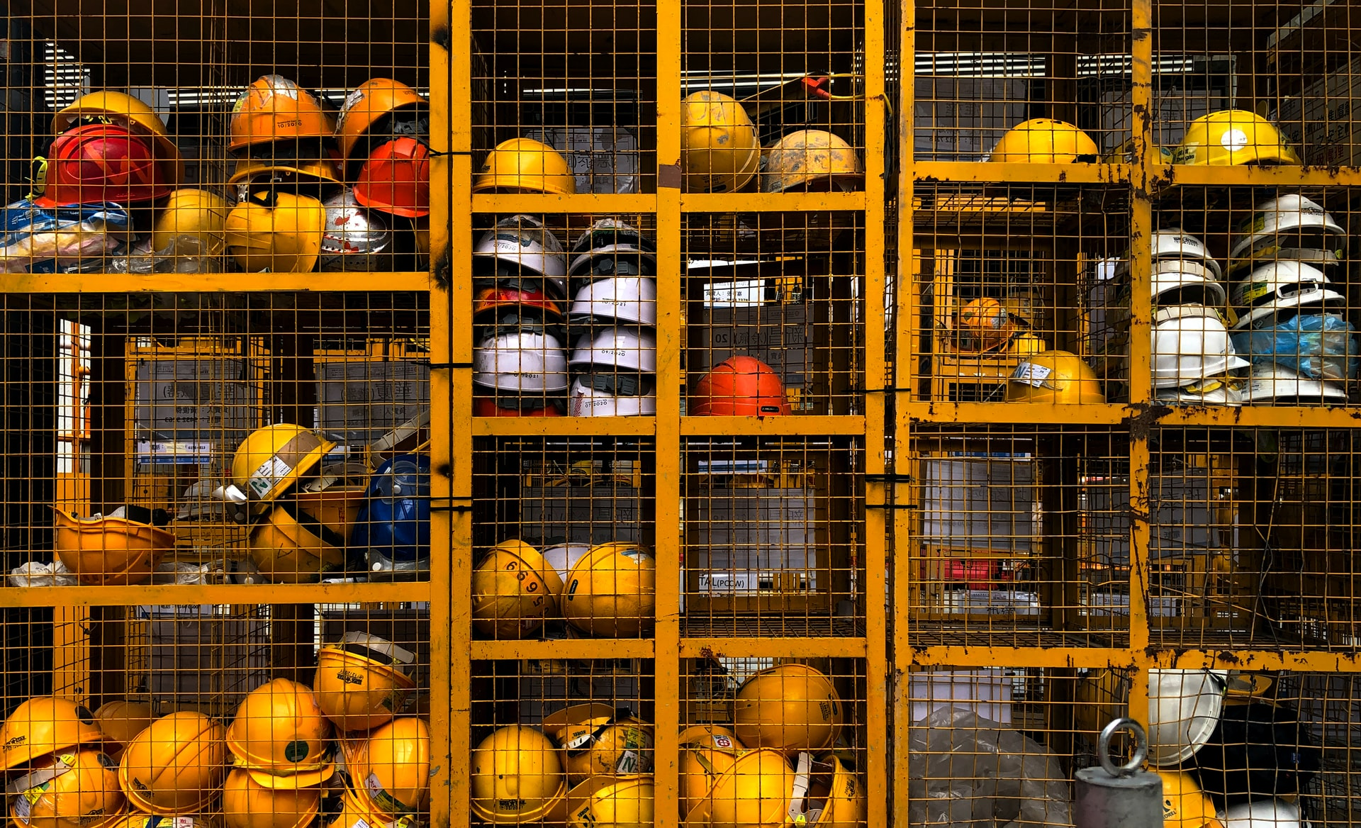 hard hats in storages